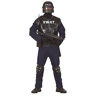 Mens SWAT Team Fancy Dress Kostuum