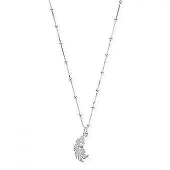 ChloBo Silver Bobble Chain Feather Heart Necklace