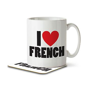 I Love French - Mug and Coaster