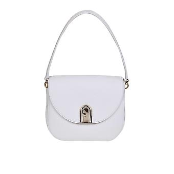 Furla 1057285 Women's White Leather Shoulder Bag