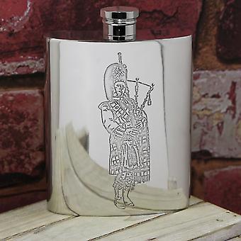 Scottish Piper Embossed Pewter Hip Flask - 6oz