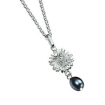 Elements 925 Silver Freshwater Pearl and Daisy Pendant on 18'' Chain P3357B