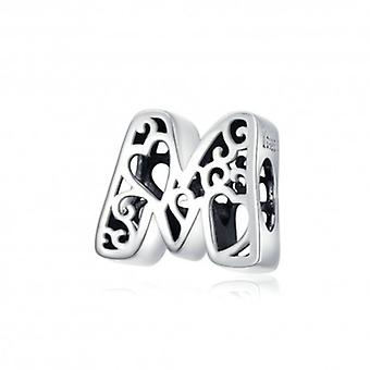 Sterling Silver Alphabet Charm With Hearts Letter M - 6267