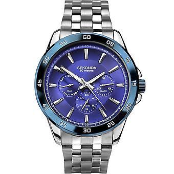 Sekonda Mens Blauwe Wijzerplaat Roestvrij stalen armband horloge 1391