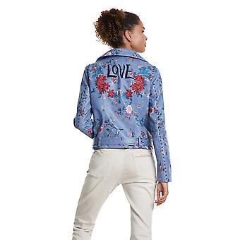 Desigual Women-apos;s Nassau Faux Cuir Floral Print Biker Jacket