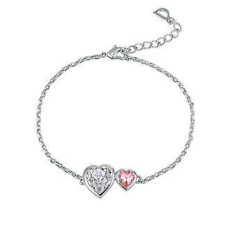Double Hearts ranne koru koristeltu Swarovski ruusu, valkoinen ja Rhodium päällystetty Crystal