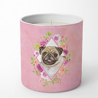 Carolines Treasures  CK4174CDL Fawn Pug Pink Flowers 10 oz Decorative Soy Candle