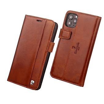 Pierre Cardin Leather Bookcase Case iPhone 11 Pro Max - Brown