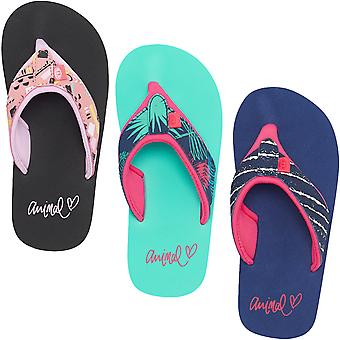 Animal Girls Kids Swish Upper AOP Casual Slip On Pool Beach Summer Flip Flops