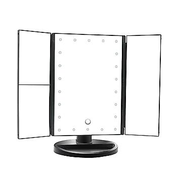 Tri-folding reversible desktop mirror 22-Lamp LED makeup mirror Battery and USB power supply