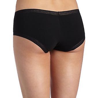 On Gossamer Women's Cabana Cotton Boyshort Panty,Black,Small