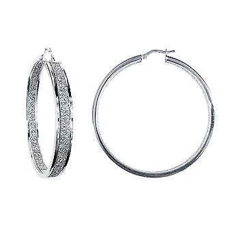 Jewelco London Rhodium Plaqué Silver MoonDust Double Sided 6x2mm Rectangular Tube Hoop Boucles d'oreilles 50mm