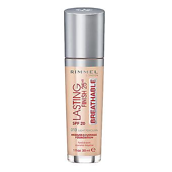 Rimmel London Lasting Finish Foundation Long Wear 25Hr Transpirable 30ml Light Porcelain #010 SPF20
