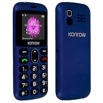 Vanhempi puhelin 2 & Dual sim-painike SOS 1400mAh autonomia 4h Konrow - sininen