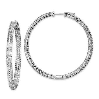 925 Sterling Silver Pave Polished Hinged Hoop Rhodium banhado 1,25 polegadas diâmetro CZ Cubic Zirconia Simulado Diamante Hoop