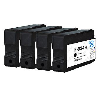4 cartuchos de tinta de tinta hp 934XL compatíveis com preto (HP934XL)