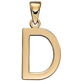 Elements Gold D Pendant - Gold