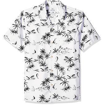 28 Palms Men's Standard-Fit 100% Cotton Tropical Hawaiian Shirt, Branco/Preto ...