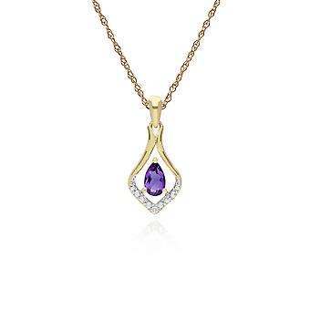 Classic Pear Amethyst & Three Diamond Leaf Halo Pendant Necklace in 9ct Yellow Gold 135P1915059