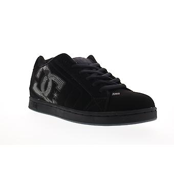 DC Net  Mens Black Nubuck Leather Lace Up Skate Sneakers Shoes