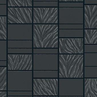 Azulejo Tigre Rayas Fondo Pintado Negro Texturizado En relieve Vinilo Rasch Brillo Metálico