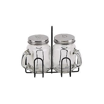CGB Giftware Loft Drinking Jars Salt And Pepper Set