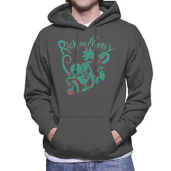 Rick and Morty Green Stencil Design Men's Hooded Sweatshirt