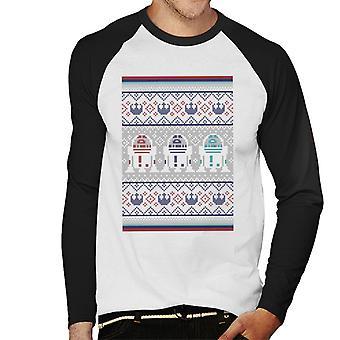 Star Wars Christmas R2 Knit Pattern Hommes-apos;s Baseball Long Sleeved T-Shirt