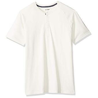 Goodthreads Men's Short-Sleeve Sueded Jersey Henley, Blanc, Petit