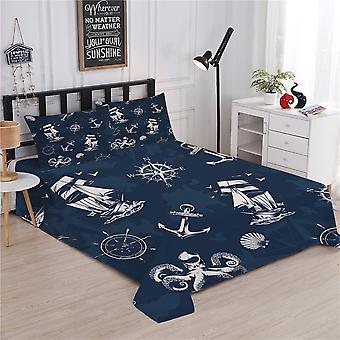 Nautical Style Bedding Sets - Duvet Cover Flat Sheet King Queen Size Bed Linen With Pillowcase