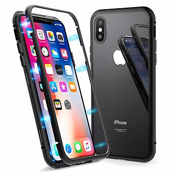 Double-sided iPhone X / iPhone XS magnetic shell - tempered glass/metal black
