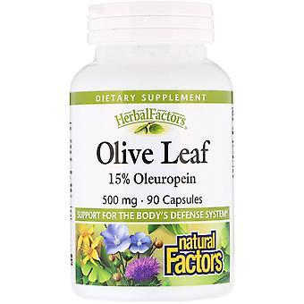Fattori naturali, Foglia d'oliva, 500 mg, 90 Capsule