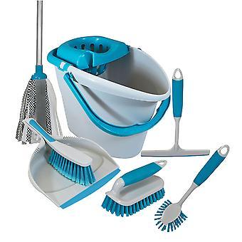Charles Bentley 'Brights' Kitchen Bundle Set Mop Brush Scrub Squeegee Dish Dustpan Blue