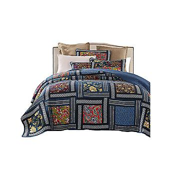 Bedding Cotton Vintage Floral Quilt Coverlet Set 3-Piece Navy Blue Size 1