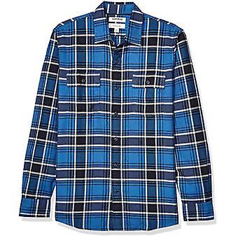 Brand - Goodthreads Men's Slim-Fit Long-Sleeve Plaid Twill Shirt, Blue Navy, Medium