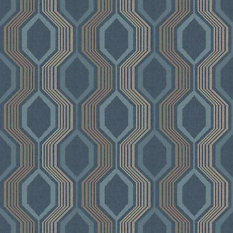 904905 - Hexagon Petrol Blue - Arthouse Wallpaper