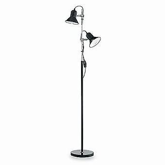 2 lichte dubbele vloerlamp zwart, E27