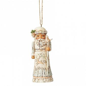 Jim Shore Heartwood Creek White Woodland Santa Nutcracker Hanging Ornament