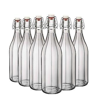 Bormioli Rocco Oxford Table Serving Water Bottle Set with Swing Top Lid - 1 Litre - Pack of 6
