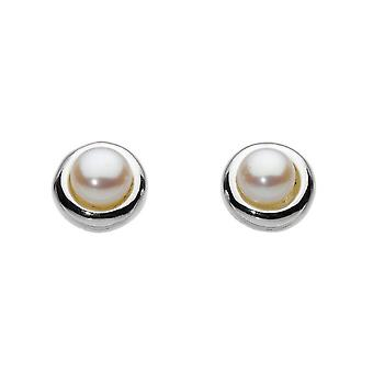 Dew Sterling Silver Pearl With Silver Surround Stud Earrings 38300FP010