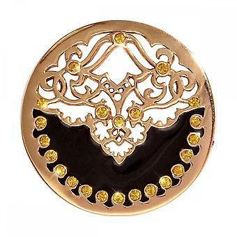 Nikki Lissoni negro terciopelo medio oro chapado moneda C1159GM