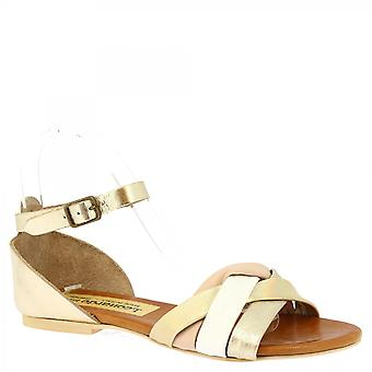 Leonardo Shoes Women's handmade flat sandals in gold white and pink goat leather with buckle closure