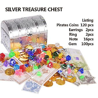 Plastic Gold Treasure Coins Captain Pirate Party Chest Child Toy