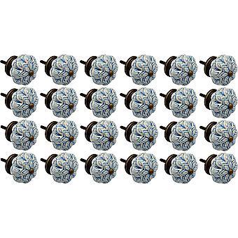 Nicola Spring Cerámica Armario Perillas - Vintage Diseño flor - Azul claro - Paquete de 24