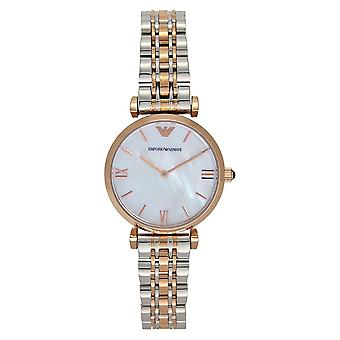 Armani Ar1683 Rose Gold And Silver Stainless Steel Mother Of Pearl Dial Ladies Watch