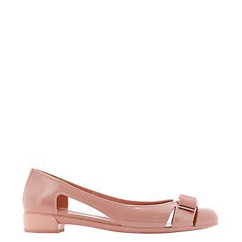 Salvatore Ferragamo 726365 Women's Pink Patent Leather Flats