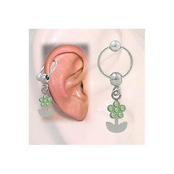Cartilage - tragus flower design with jewels (16g-3/8 in-10mm) bj44812