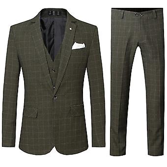 YANGFAN Men's Plaid One Button Three-piece Suit