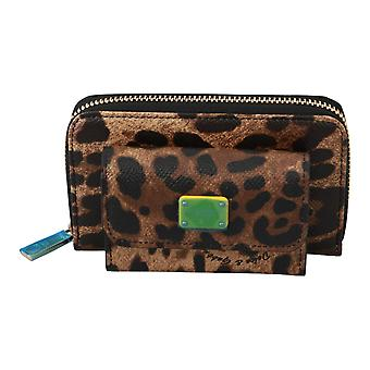 Brown Leather Leopard Yellow Logo Coin Purse