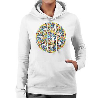 Sonic der Igel Kaleidoskop Charakter Kopf Frauen's Kapuzen Sweatshirt